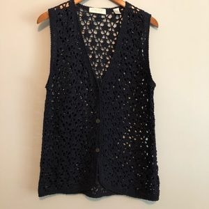 Lord & Taylor Medium Navy Open weave Crochet Vest